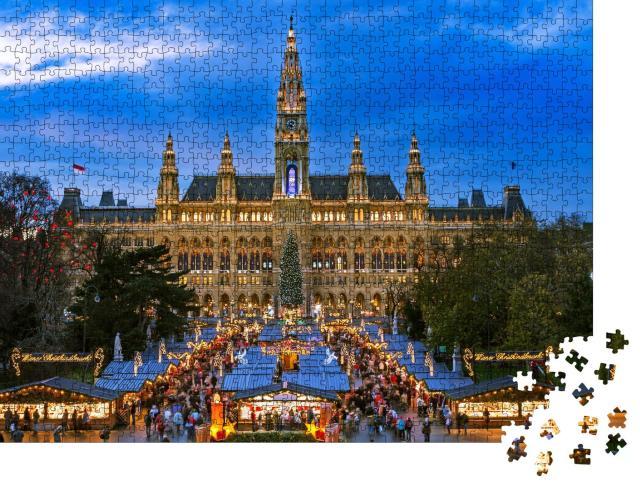 """Puzzle 1000 Teile """"Weihnachtsmarkt in Wien, winterliches Motiv"""""""