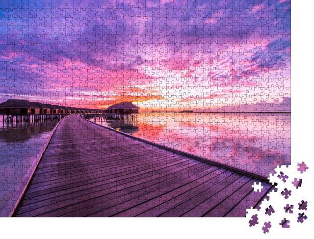 """Puzzle 1000 Teile """"Atemberaubender Sonnenuntergang auf den Malediven"""""""