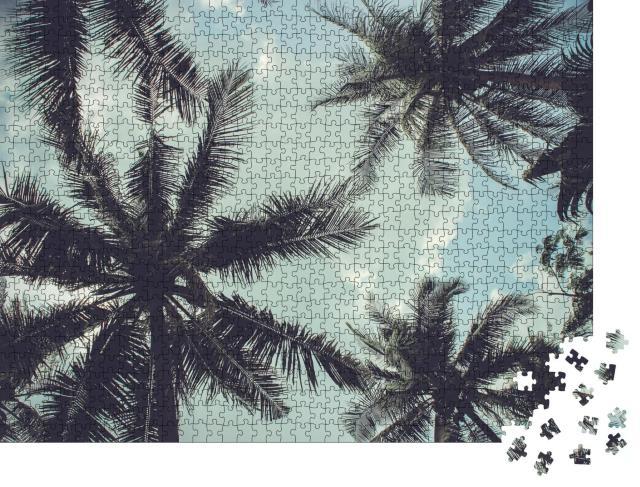"""Puzzle 1000 Teile """"Zweige von Kokosnusspalmen gegen blauen Himmel"""""""