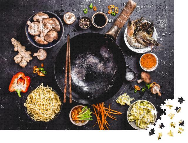 """Puzzle 1000 Teile """"Asiatisch kochen mit Wok, Gemüse und China-Nudeln"""""""