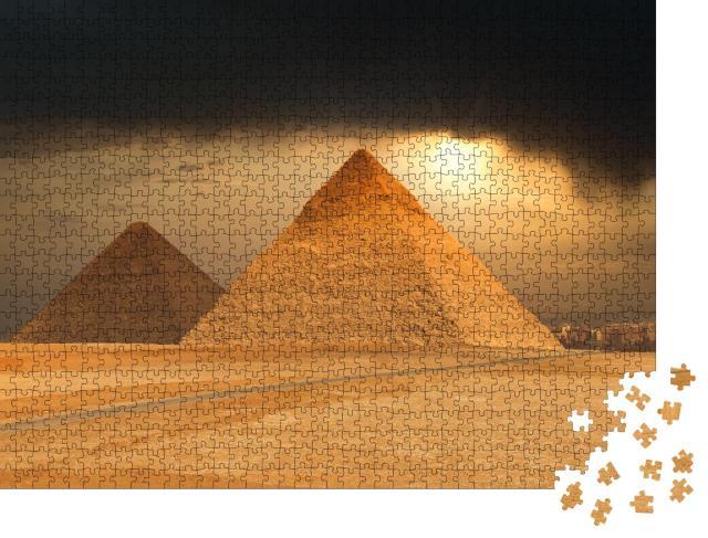 """Puzzle 1000 Teile """"Die berühmten Pyramiden von Gizeh, Ägypten"""""""