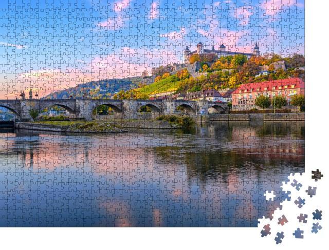 """Puzzle 1000 Teile """"Festung Marienberg und Alte Mainbrücke von Würzburg, Deutschland"""""""