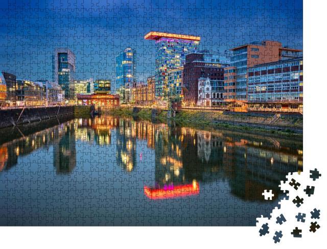 """Puzzle 1000 Teile """"Stadtbild von Düsseldorf mit Medienhafen und Rhein, Deutschland"""""""