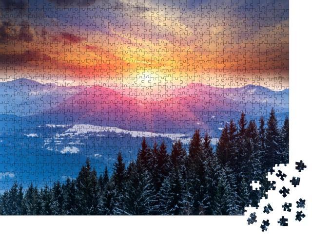 """Puzzle 1000 Teile """"Winterlicher Sonnenuntergang in den Bergen"""""""