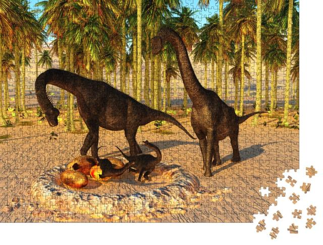 """Puzzle 1000 Teile """"Dinosaurier-Baby: Nest mit 3D-Illustration, Brachiosaurus-Eltern und Dino-Eier"""""""