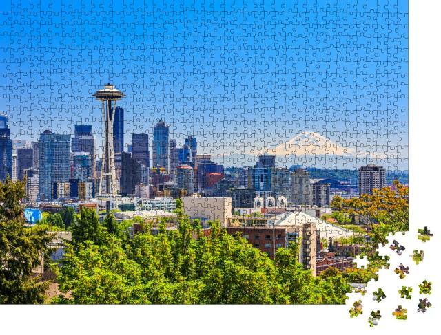 """Puzzle 1000 Teile """"Skyline der Innenstadt von Seattle und Mt. Rainier, Washington."""""""