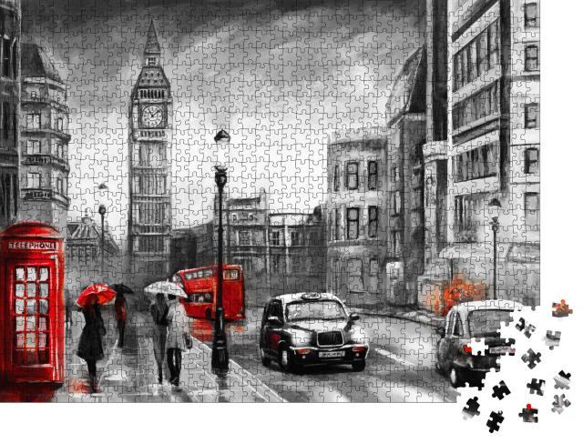 """Puzzle 1000 Teile """"Ölgemälde mit Straßenansicht aus London: Paar mit Regenschirm vor dem Big Ben"""""""