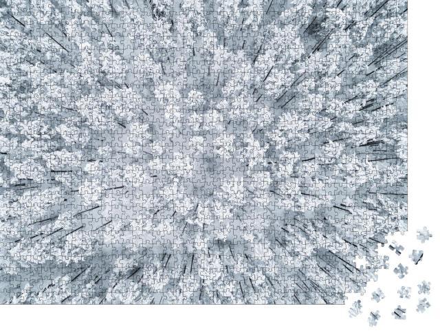 """Puzzle 1000 Teile """"Luftaufnahme eines winterlichen, schneebedeckten Kiefernwaldes"""""""