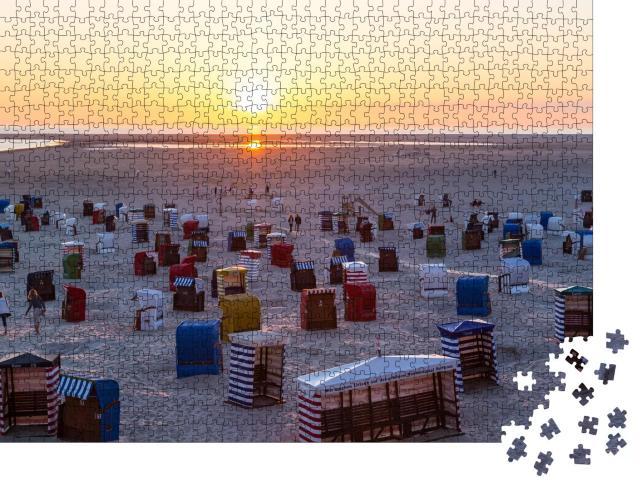"""Puzzle 1000 Teile """"Strandkörbe am Strand von Borkum"""""""