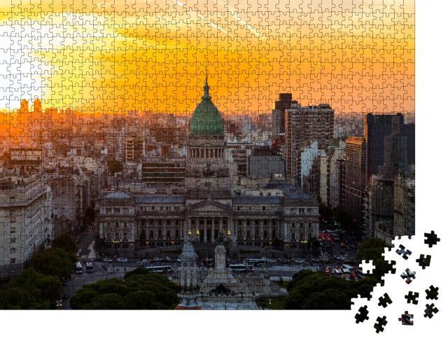 """Puzzle 1000 Teile """"Nationales Kongressgebäude von Buenos Aires bei Sonnenuntergang"""""""