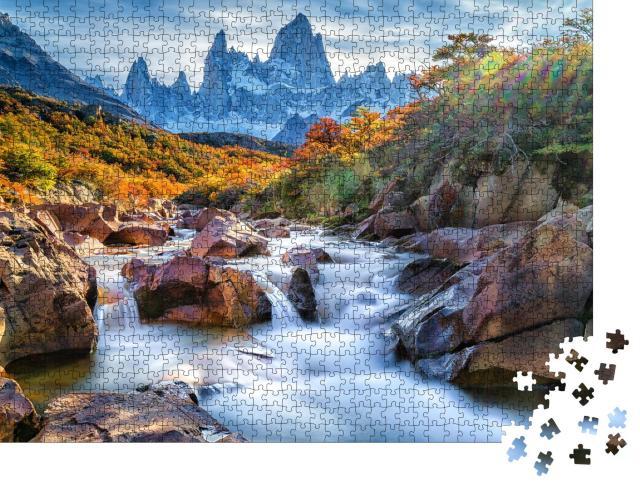 """Puzzle 1000 Teile """"Spektakuläre Aussicht: Berg Fitz Roy, Patagonien, Argentinien"""""""