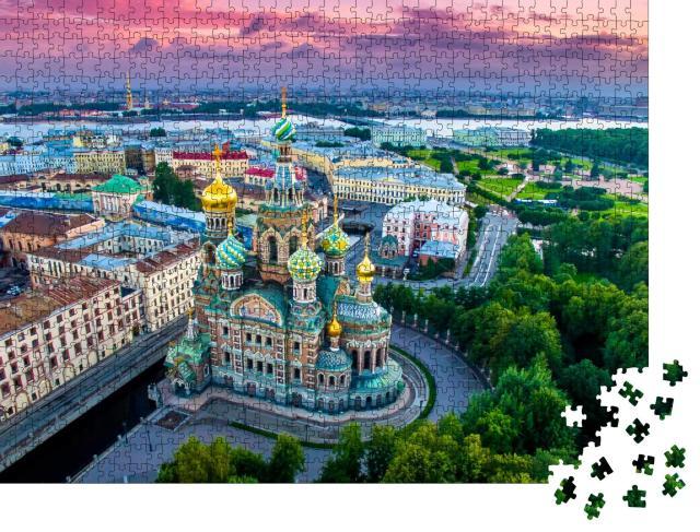 """Puzzle 1000 Teile """"Panorama von St. Petersburg bei Sonnenuntergang, Russland"""""""