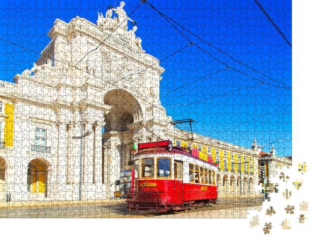 """Puzzle 1000 Teile """"Traditionelle Straßenbahn in der Innenstadt von Lissabon"""""""