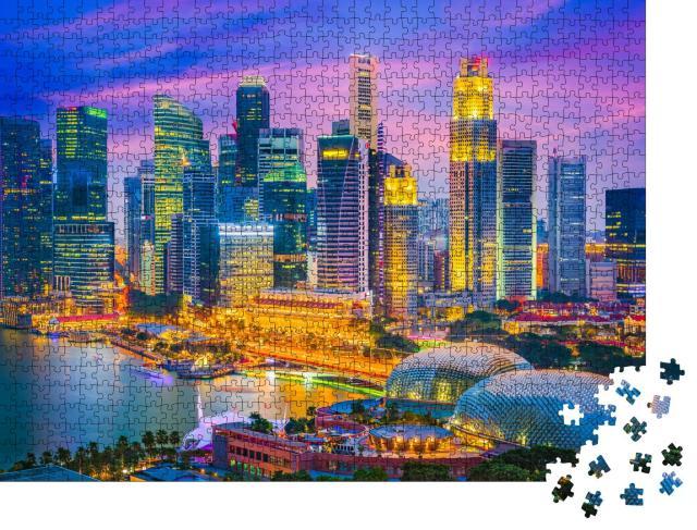 """Puzzle 1000 Teile """"Skyline von Singapur im Abendlicht"""""""