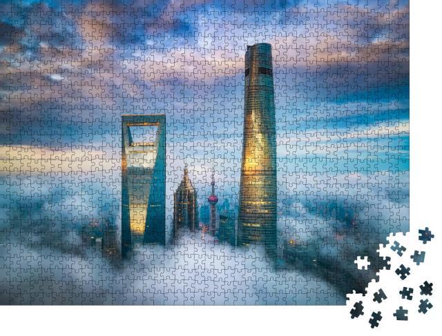 """Puzzle 1000 Teile """"Über den Wolken: Die Wolkenkratzer von Shanghai Lujiazui"""""""