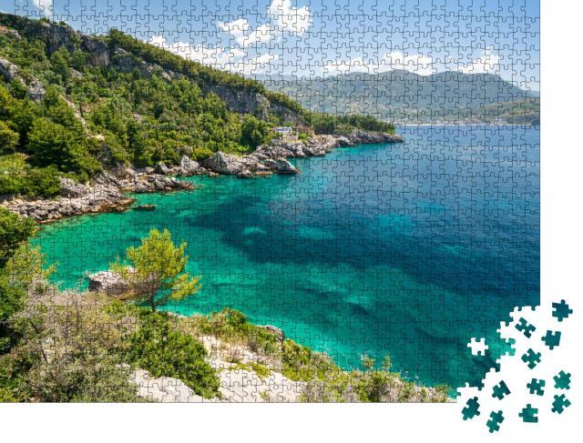 """Puzzle 1000 Teile """"Türkisfarbene Küste in Himare, albanische Riviera, Albanien"""""""