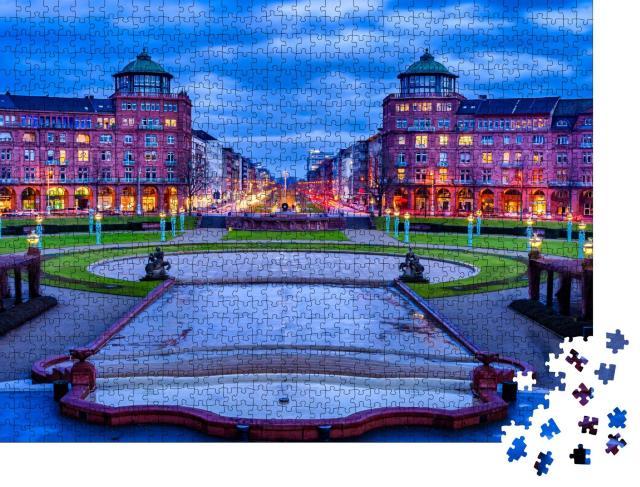 """Puzzle 1000 Teile """"Friedrichsplatz, Stadtpark im Winter, Mannheim, Deutschland"""""""