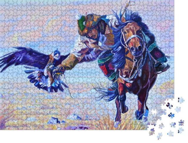 """Puzzle 1000 Teile """"Mann auf einem Pferd mit einem Adler aus Kasachstan"""""""