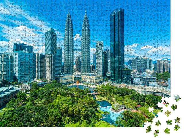 """Puzzle 1000 Teile """"Einzigartige Architektur: Skyline von Kuala Lumpur, Hauptstadt von Malaysia"""""""