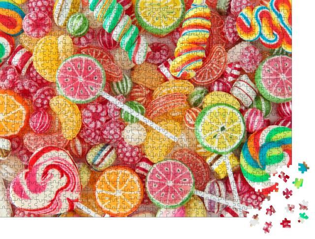 "Puzzle 1000 Teile ""Bunt gemischte Fruchtbonbons und Lollis, Nahaufnahme"""
