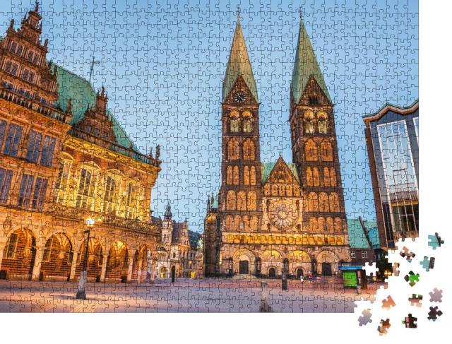 """Puzzle 1000 Teile """"Abendliche Altstadt von Bremen, Deutschland"""""""