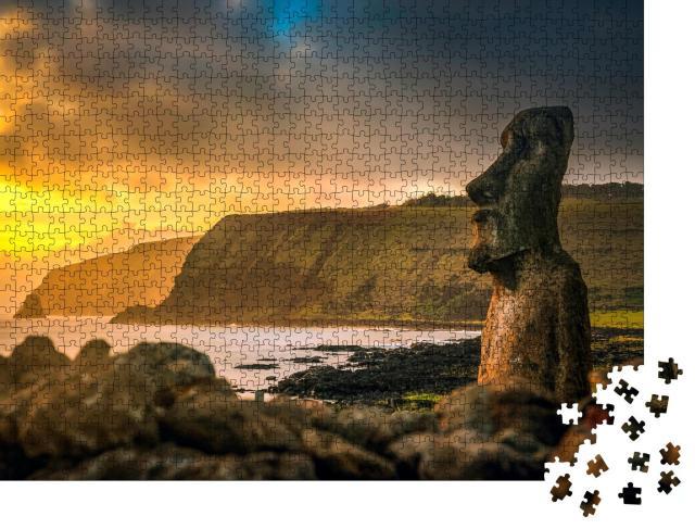 """Puzzle 1000 Teile """"Antike Steinfigur Moai auf der Osterinsel"""""""