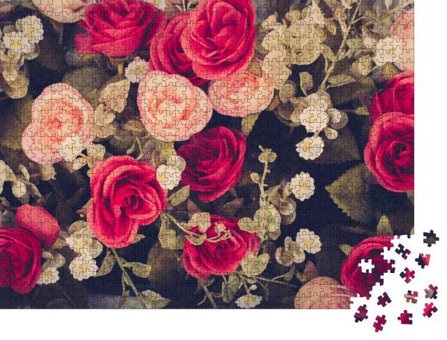 """Puzzle 1000 Teile """"Vintage Blumen in Rosa und Rot, Rosen"""""""