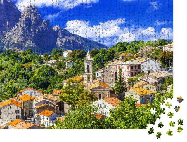 """Puzzle 1000 Teile """"Evisa: malerisches Bergdorf auf Korsika, Frankreich"""""""