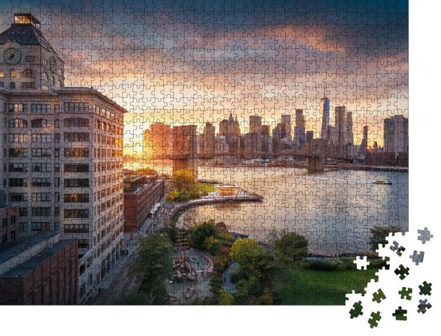 """Puzzle 1000 Teile """"Brooklyn Bridge in New York City mit Financial District"""""""