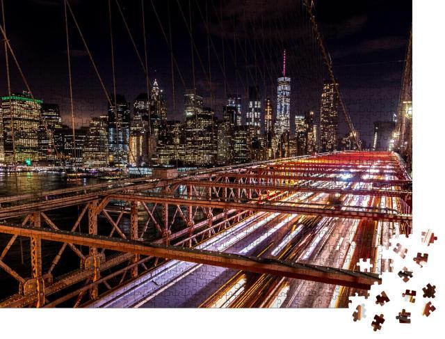 "Puzzle 1000 Teile ""Brooklyn Bridge: New York City bei Nacht"""