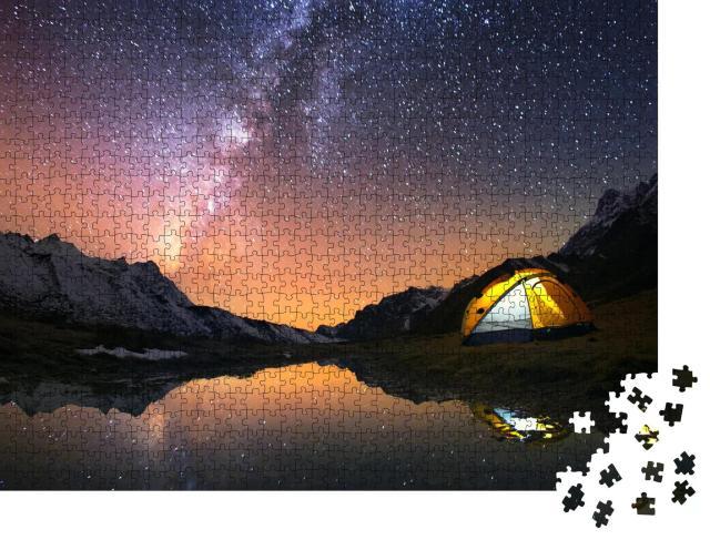 """Puzzle 1000 Teile """"Zelten unter dem Sternenhimmel von Nepal"""""""