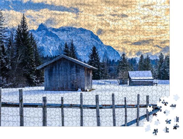 """Puzzle 1000 Teile """"Winterliches Karwendel- und Wettersteingebirge, Bayern"""""""