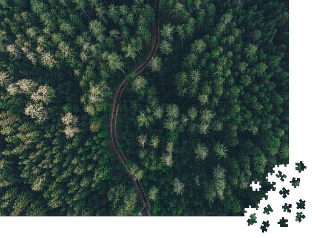 """Puzzle 1000 Teile """"Luftaufnahme einer kurvigen Straße inmitten eines Waldes"""""""