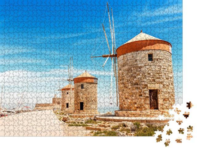 """Puzzle 1000 Teile """"Hafen von Mandraki auf Rhodos mit Windmühlen, Griechenland"""""""