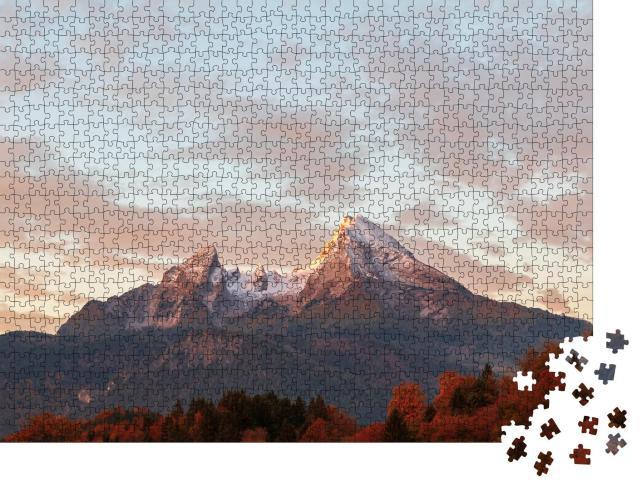 """Puzzle 1000 Teile """"Watzmann im herbstlichen Abendlicht, Deutschland"""""""