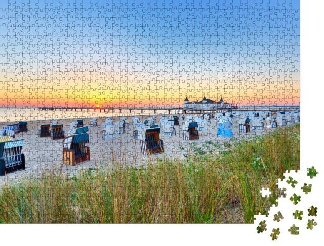 """Puzzle 1000 Teile """"Morgenzeit am Ostseestrand, Ahlbecker Seebrücke"""""""