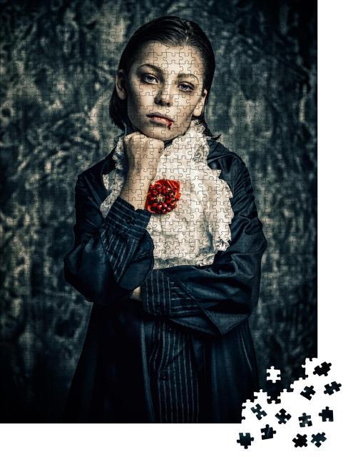 """Puzzle 1000 Teile """"Porträt eines Vampires, Vampirkostüm, Grunge-Hintergrund, Halloween-Party"""""""