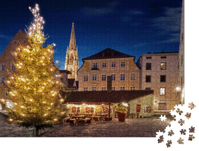 """Puzzle 1000 Teile """"Weihnachtsbaum auf dem Platz der Würstchenbude in Regensburg"""""""