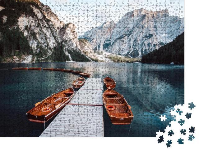"""Puzzle 1000 Teile """"Pragser Wildsee bei Sonnenuntergang, Dolomiten, Südtirol, Italien"""""""