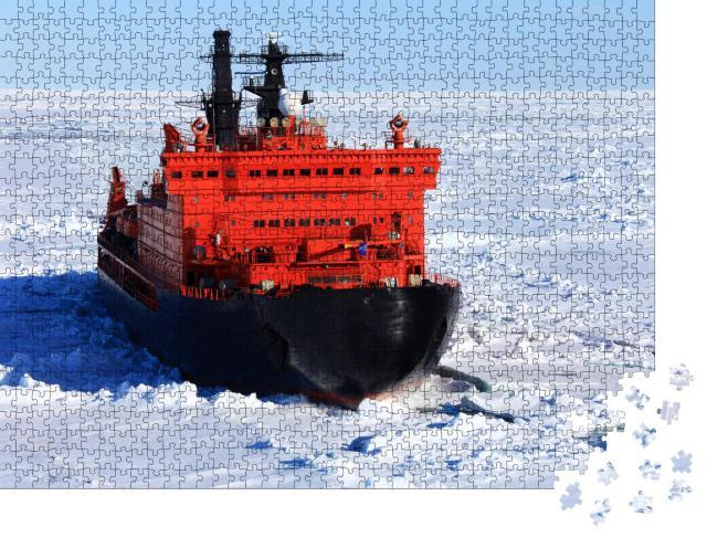 """Puzzle 1000 Teile """"Roter Eisbrecher inmitten des arktischen Ozeans"""""""