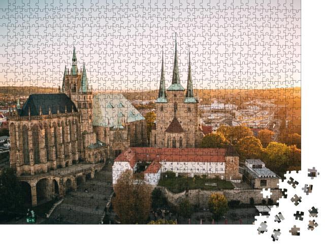 """Puzzle 1000 Teile """"Erfurter Dom im herbstlichen Sonnenuntergang"""""""