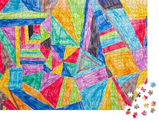 """Puzzle 1000 Teile """"Bunter Hintergrund, fantasievoll und selbstgemalt"""""""