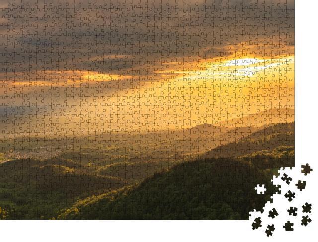 """Puzzle 1000 Teile """"Das wunderschöne Murgtal im Schwarzwald zur goldenen Stunde"""""""