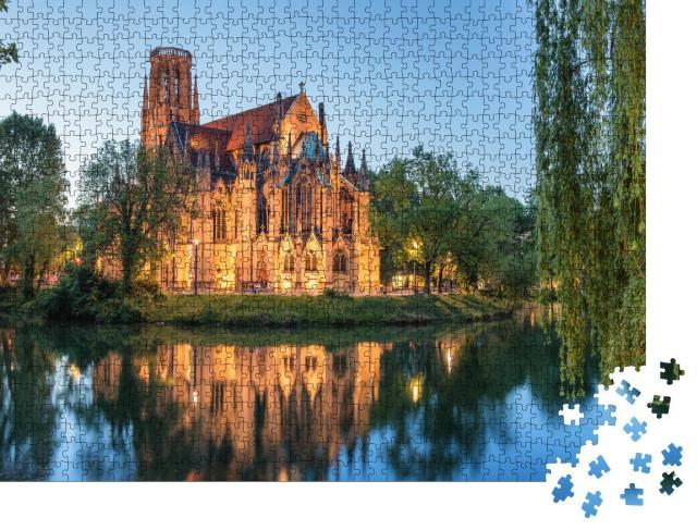"""Puzzle 1000 Teile """"Nachtansicht der Johanniskirche Stuttgart, Deutschland"""""""