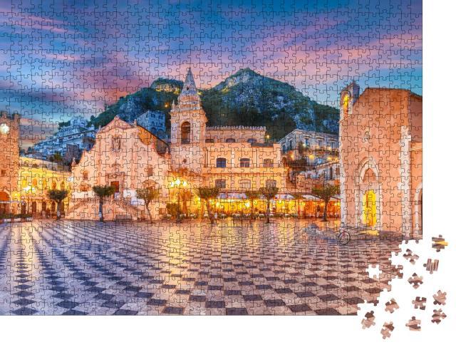 """Puzzle 1000 Teile """"Belvedere von Taormina und Kirche San Giuseppe, Sizilien, Italien"""""""