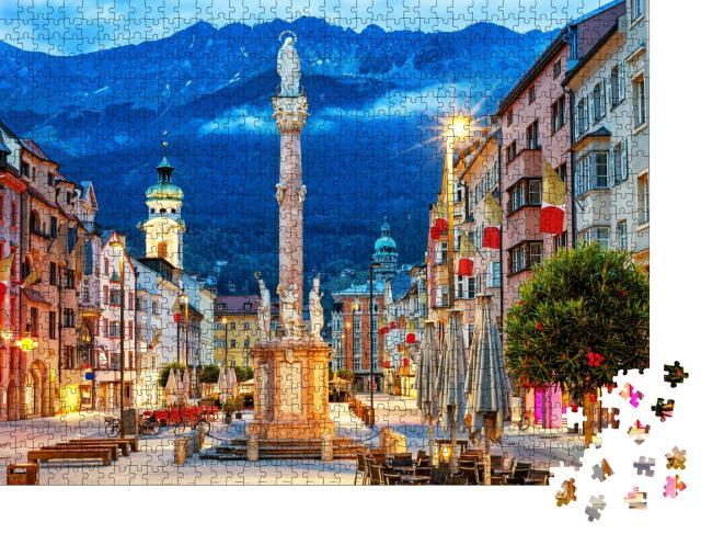 """Puzzle 1000 Teile """"Innsbruck: Altstadt im Alpengebirge in Tirol"""""""