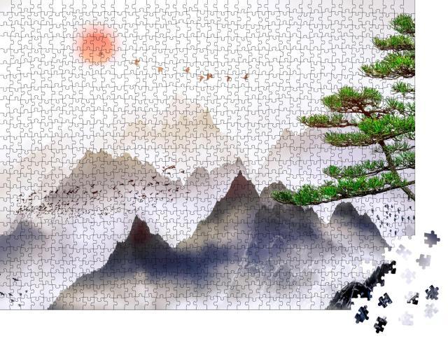 """Puzzle 1000 Teile """"Traditionelle chinesische Malerei: Berglandschaft"""""""