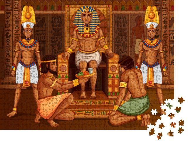 """Puzzle 1000 Teile """"Vektor-Design: Ägyptischer Pharao und sein Gefolge"""""""