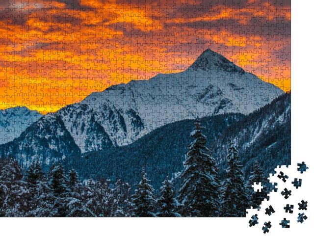 """Puzzle 1000 Teile """"Die Zillertaler Alpen im Sonnenaufgang, Österreich"""""""