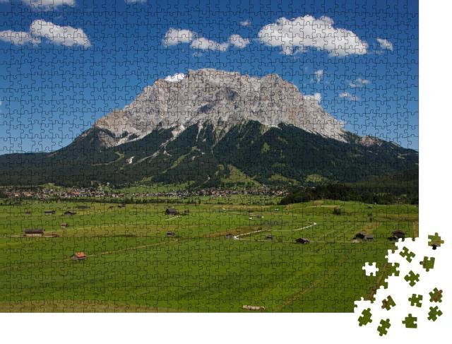"""Puzzle 1000 Teile """"Blick von Lermoos auf Ehrwald und Zugspitze, Tirol, Österreich"""""""
